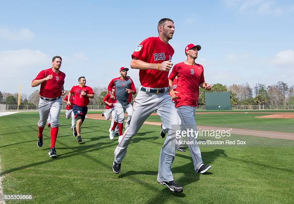 Rick Porcello and Chris Sale of the Boston Red Sox lead the pitchers during conditioning drills on February 14 2017 at jetBlue Park in Fort Myers...