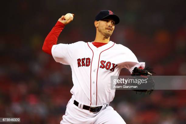 Rick Porcello of the Boston Red Sox delivers in the first inning of a game against the New York Yankees at Fenway Park on April 26 2017 in Boston...