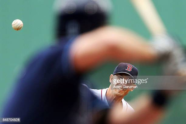 Rick Porcello of the Boston Red Sox delivers in the first inning of the game against the Tampa Bay Rays at Fenway Park on July 9 2016 in Boston...