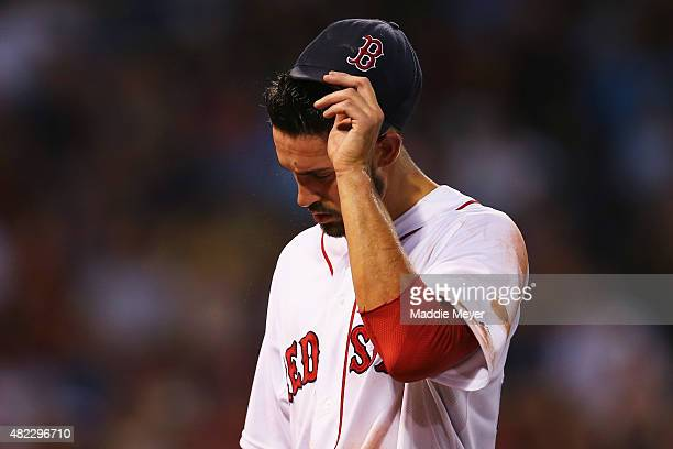 Rick Porcello of the Boston Red Sox is relieved during the third inning after allowing six runs against the Chicago White Sox during the third inning...