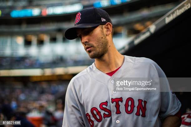 Rick Porcello of the Boston Red Sox looks on during the game against the New York Yankees at Yankee Stadium on June 7 2017 in the Bronx borough of...