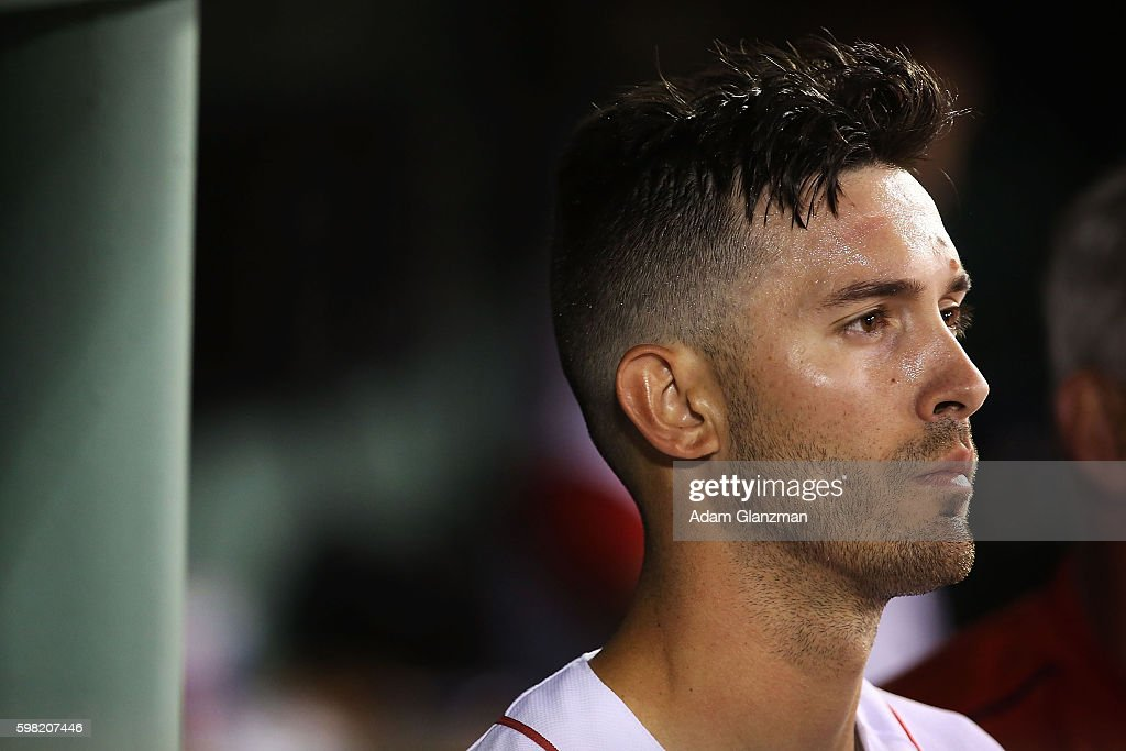 Rick Porcello of the Boston Red Sox looks on in the seventh inning during a game against the Tampa Bay Rays at Fenway Park on August 29 2016 in...