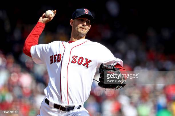 Rick Porcello of the Boston Red Sox pitches against the Pittsburgh Pirates during the third inning during the opening day game at Fenway Park on...