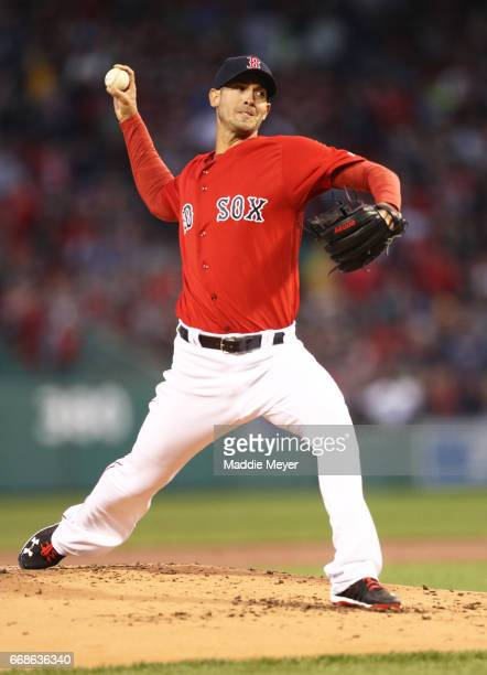 Rick Porcello of the Boston Red Sox pitches against the Tampa Bay Rays during the second inning at Fenway Park on April 14 2017 in Boston...