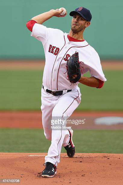 Rick Porcello of the Boston Red Sox pitches against the Toronto Blue Jays during the first inning at Fenway Park on April 29 2015 in Boston...