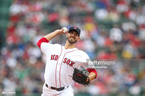 Rick Porcello of the Boston Red Sox pitches during Game 4 of the American League Division Series against the Houston Astros at Fenway Park on Monday...