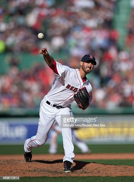 Rick Porcello of the Boston Red Sox pitches during the fifth inning against the Washington Nationals at Fenway Park in Boston Massachusetts on April...