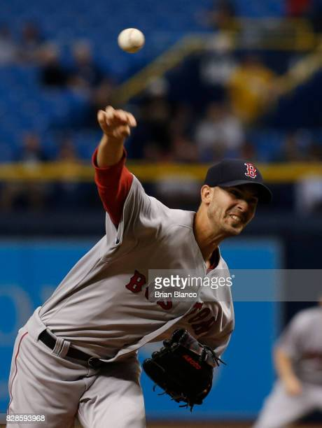 Rick Porcello of the Boston Red Sox pitches during the first inning of a game against the Tampa Bay Rays on August 9 2017 at Tropicana Field in St...