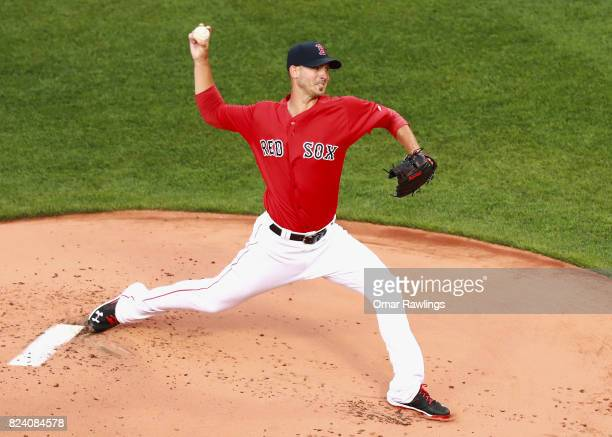 Rick Porcello of the Boston Red Sox pitches in the botton of the first inning during the game against the Kansas City Royals at Fenway Park on July...
