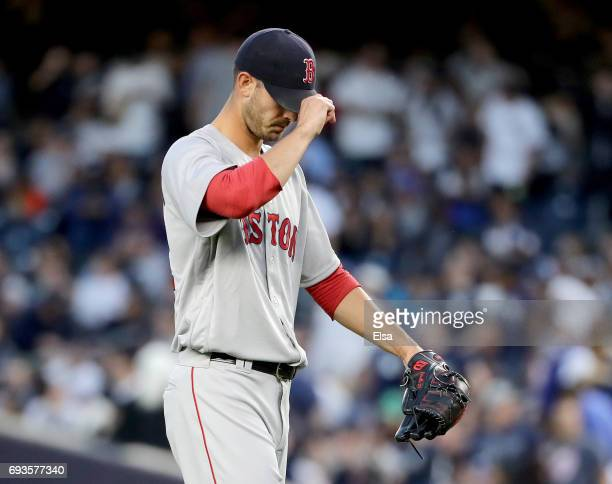 Rick Porcello of the Boston Red Sox reacts in the fourth inning after Chris Carter of the New York Yankees hit a three run home run on June 7 2017 at...