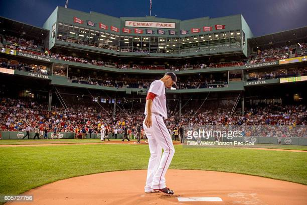 Rick Porcello of the Boston Red Sox takes the mound before the first inning of a game against the Baltimore Orioles on September 14 2016 at Fenway...