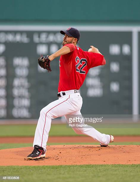 Rick Porcello of the Boston Red Sox throws a pitch during the first inning against the Detroit Tigers at Fenway Park on July 24 2015 in Boston...