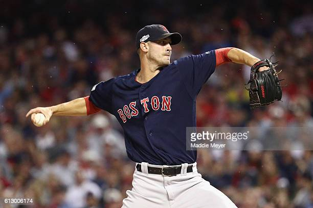 Rick Porcello of the Boston Red Sox throws a pitch in the first inning against the Cleveland Indians during game one of the American League Divison...
