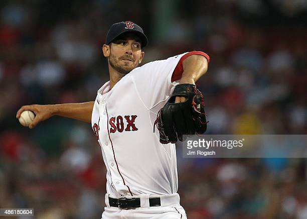 Rick Porcello of the Boston Red Sox throws in the first inning against the New York Yankees at Fenway Park on September 1 2015 in Boston Massachusetts