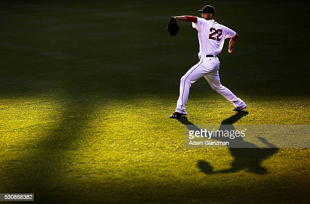Rick Porcello of the Boston Red Sox warms up in center field before the game against the Oakland Athletics at Fenway Park on May 11 2016 in Boston...