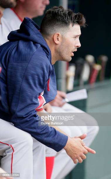 Rick Porcello of the Boston Red Sox watches from the dugout after being pulled from the game against the Detroit Tigers during the seventh inning at...