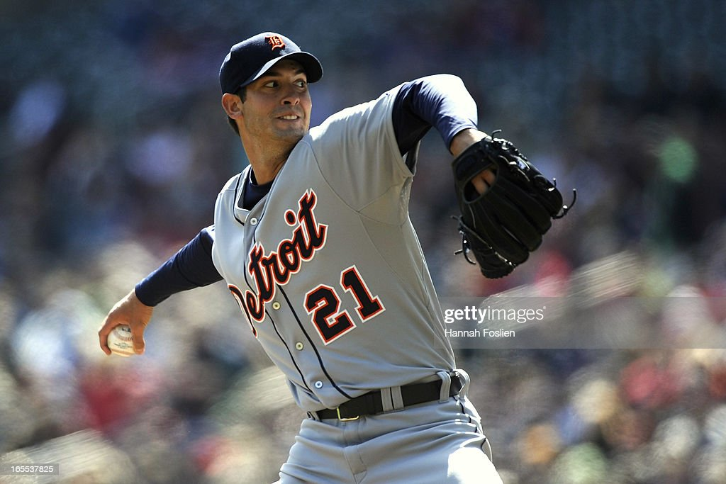 <a gi-track='captionPersonalityLinkClicked' href=/galleries/search?phrase=Rick+Porcello&family=editorial&specificpeople=4495644 ng-click='$event.stopPropagation()'>Rick Porcello</a> #21 of the Detroit Tigers delivers a pitch against the Minnesota Twins during the first inning of the game on April 4, 2013 at Target Field in Minneapolis, Minnesota.