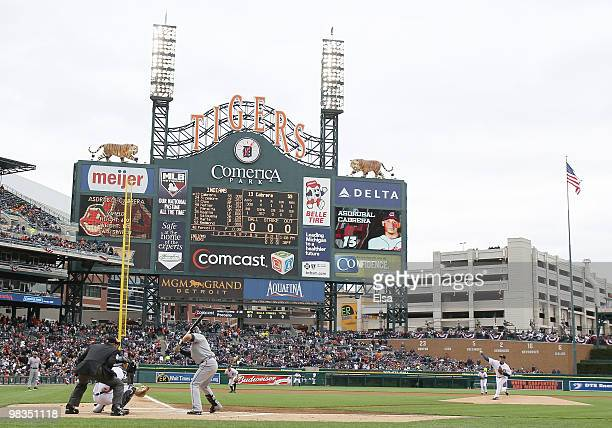Rick Porcello of the Detroit Tigers delivers the first pitch of the game to Asdrubal Cabrera of the Cleveland Indians on April 9 2010 during Opening...