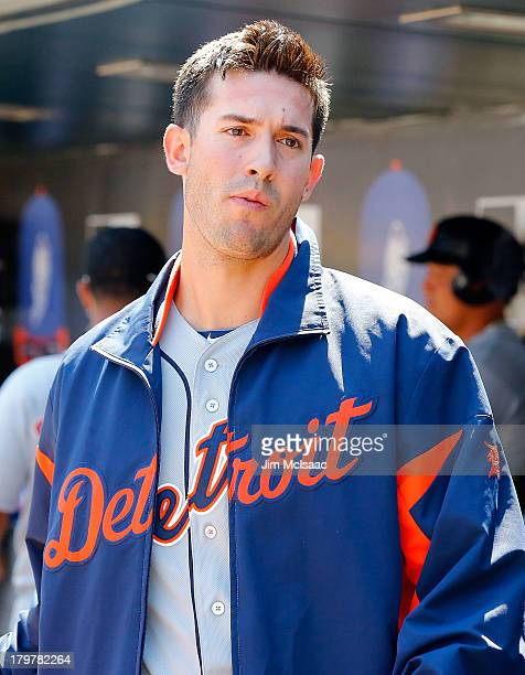 Rick Porcello of the Detroit Tigers looks on against the New York Mets at Citi Field on August 25 2013 in the Flushing neighborhood of the Queens...