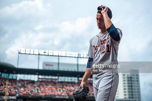 Rick Porcello of the Detroit Tigers looks on during the game against the Baltimore Orioles at Oriole Park at Camden Yards on June 2 2013 in Baltimore...