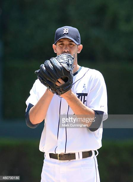 Rick Porcello of the Detroit Tigers looks on during the game against the Minnesota Twins at Comerica Park on June 15 2014 in Detroit Michigan The...
