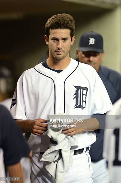 Rick Porcello of the Detroit Tigers looks on from the dugout during the game against the Los Angeles Angels of Anaheim at Comerica Park on July 29...