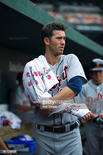 Rick Porcello of the Detroit Tigers looks on with his arm wrapped during the game against the Baltimore Orioles at Oriole Park at Camden Yards on...