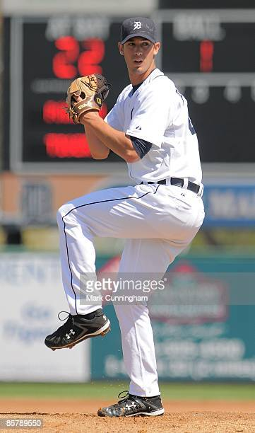 Rick Porcello of the Detroit Tigers pitches against Team Panama during the exhibition spring training game at Joker Marchant Stadium on March 4 2009...