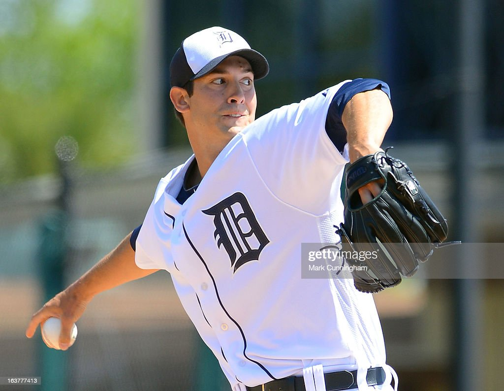<a gi-track='captionPersonalityLinkClicked' href=/galleries/search?phrase=Rick+Porcello&family=editorial&specificpeople=4495644 ng-click='$event.stopPropagation()'>Rick Porcello</a> #21 of the Detroit Tigers pitches during the spring training game against the Toronto Blue Jays at Joker Marchant Stadium on March 15, 2013 in Lakeland, Florida. The Tigers defeated the Blue Jays 4-2.