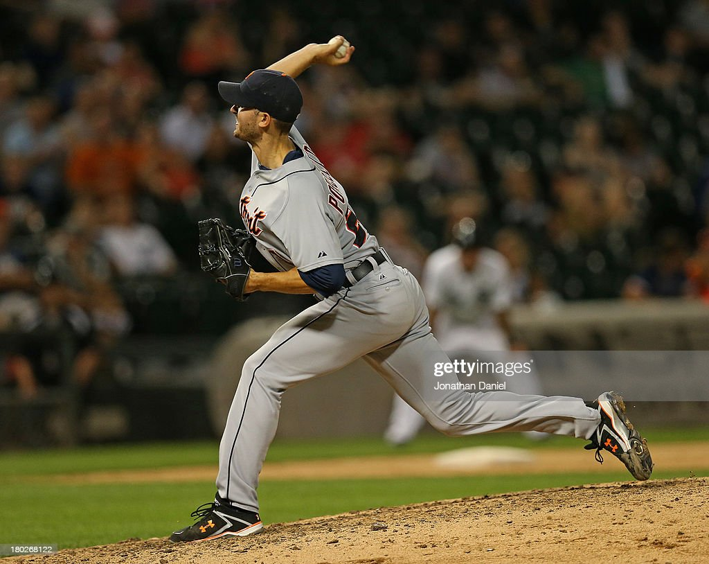 <a gi-track='captionPersonalityLinkClicked' href=/galleries/search?phrase=Rick+Porcello&family=editorial&specificpeople=4495644 ng-click='$event.stopPropagation()'>Rick Porcello</a> #21 of the Detroit Tigers pitches in the 9th inning on his way to a complete game win over the Chicago White Sox at U.S. Cellular Field on September 10, 2013 in Chicago, Illinois. The Tigers defeated the White Sox 9-1.