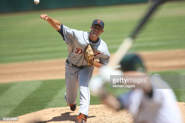 Rick Porcello of the Detroit Tigers pitching during the game against the Oakland Athletics at the Oakland Coliseum in Oakland California on August 23...