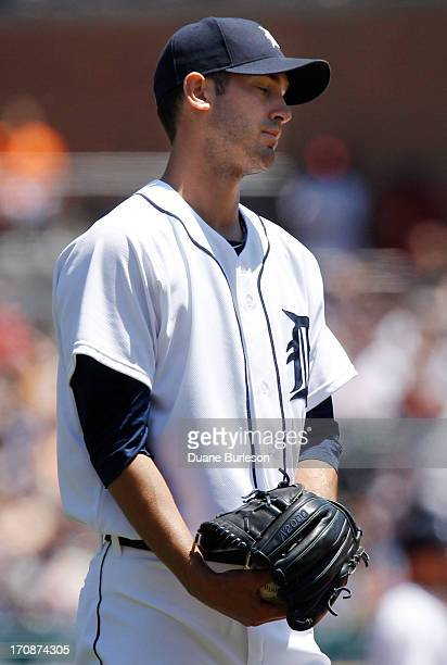 Rick Porcello of the Detroit Tigers reacts after giving up a tworun home run to Chris Davis of the Baltimore Orioles in the fourth inning at Comerica...