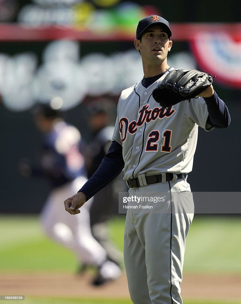 <a gi-track='captionPersonalityLinkClicked' href=/galleries/search?phrase=Rick+Porcello&family=editorial&specificpeople=4495644 ng-click='$event.stopPropagation()'>Rick Porcello</a> #21 of the Detroit Tigers reacts as <a gi-track='captionPersonalityLinkClicked' href=/galleries/search?phrase=Josh+Willingham&family=editorial&specificpeople=537640 ng-click='$event.stopPropagation()'>Josh Willingham</a> #16 of the Minnesota Twins rounds the bases after hitting a two run home run during the third inning of the game on April 4, 2013 at Target Field in Minneapolis, Minnesota.