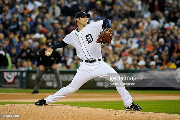 Rick Porcello of the Detroit Tigers throws a pitch against the Texas Rangers in the first inning of Game Four of the American League Championship...
