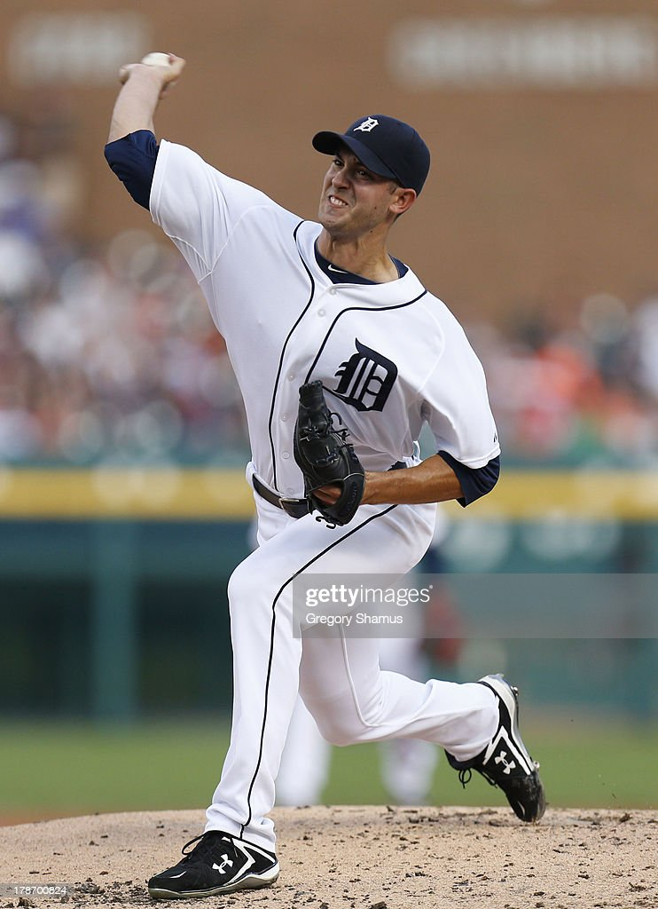 <a gi-track='captionPersonalityLinkClicked' href=/galleries/search?phrase=Rick+Porcello&family=editorial&specificpeople=4495644 ng-click='$event.stopPropagation()'>Rick Porcello</a> #21 of the Detroit Tigers throws a second inning pitch while playing the Cleveland Indians on August 30, 2013 at Comerca Park in Detroit, Michigan.