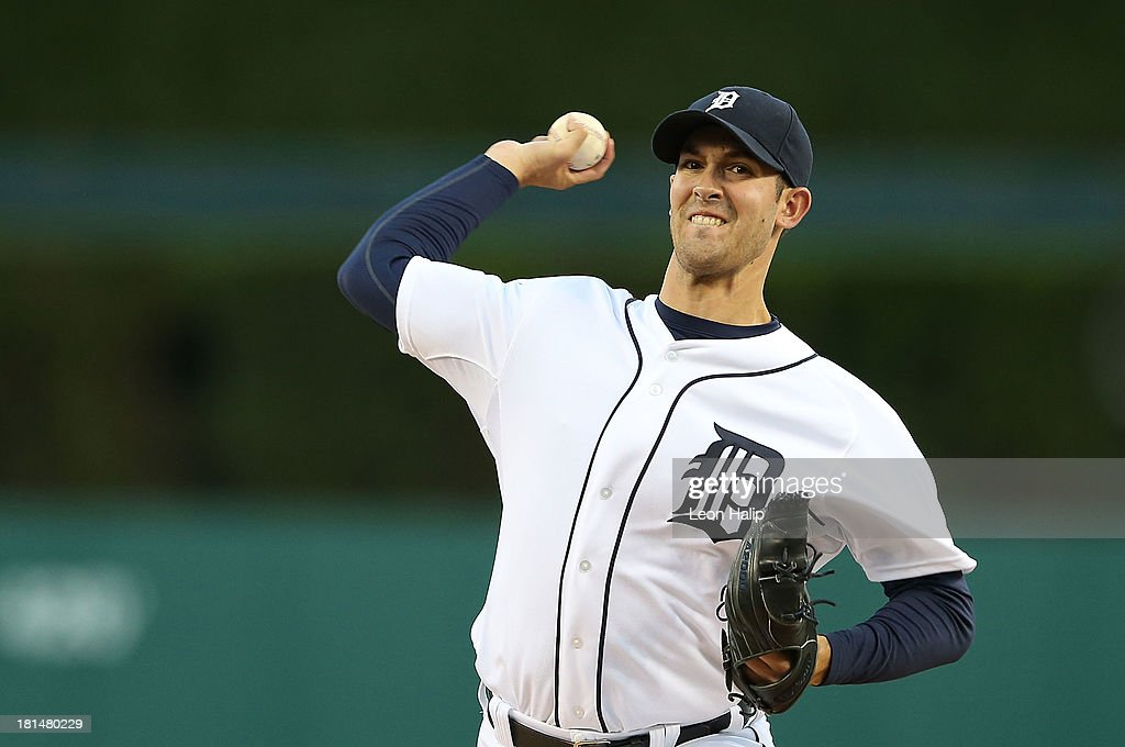 Rick Porcello #21 of the Detroit Tigers warms up prior to the start of the game against the Chicago White Sox at Comerica Park on September 21, 2013 in Detroit, Michigan.