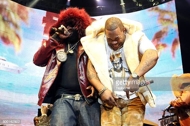 Rick Ross and Busta Rhymes perform during Hot 97's 'Busta Rhymes And Friends Hot For The Holidays' at Prudential Center on December 5 2015 in Newark...