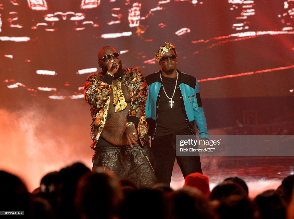 Rick Ross (L) and Diddy perform onstage at the BET Hip Hop Awards 2013 at Boisfeuillet Jones Atlanta Civic Center on September 28, 2013 in Atlanta, Georgia.