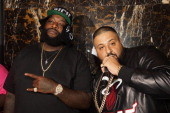 Rick Ross and DJ Khaled attend the Ace Hood Album Listening Event at the Gansevoort Park Hotel on June 18 2013 in New York City