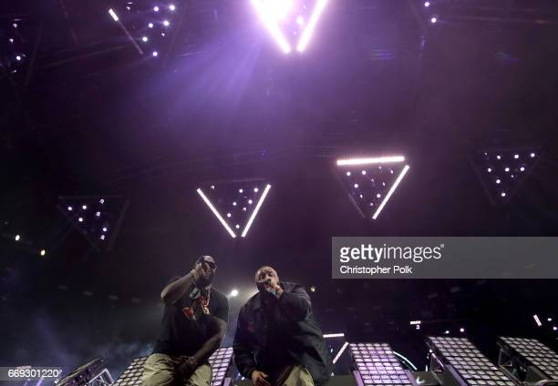 Rick Ross and DJ Khaled perform at the Sahara tent during day 3 of the Coachella Valley Music And Arts Festival at the Empire Polo Club on April 16...