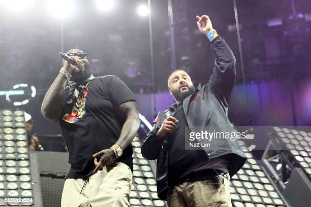 Rick Ross and DJ Khaled perform in the Sahara Tent during day 3 of the Coachella Valley Music And Arts Festival at the Empire Polo Club on April 16...