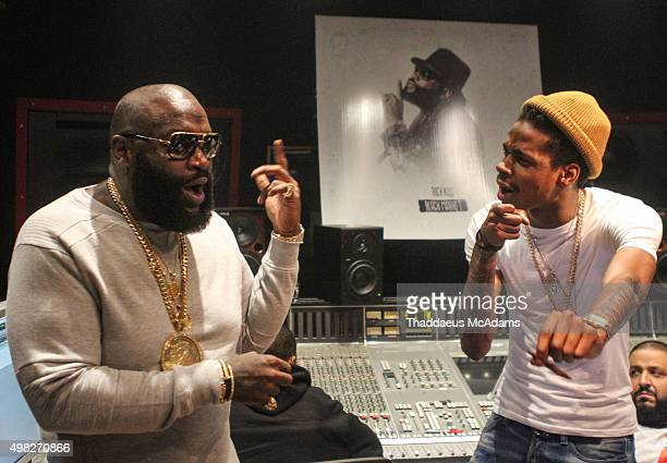 Rick Ross and DJ Sam Sneak at Rick Ross Black Market Album listening session on November 21 2015 in Miami Florida