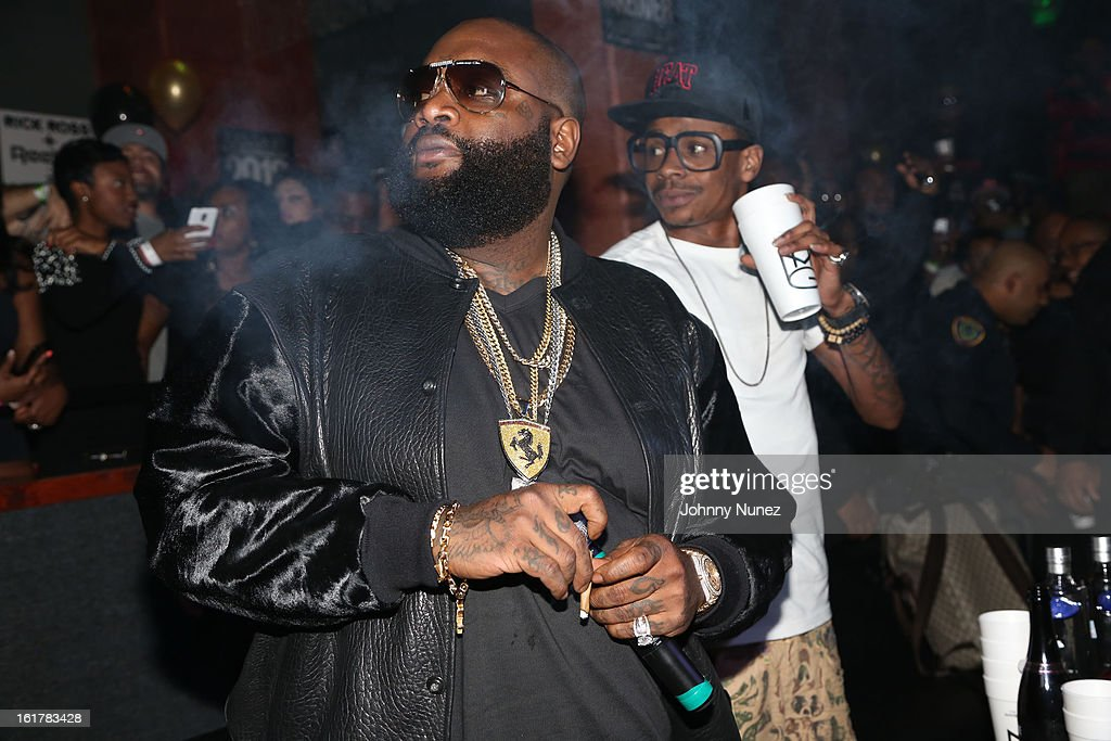 Rick Ross and DJ Sam Sneak attend Corzo presents NBA All-Star Weekend at Club Roxy on February 15, 2013 in Houston, Texas.