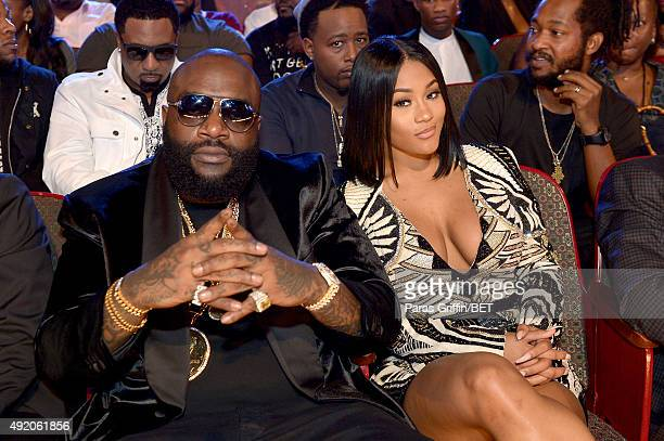 Rick Ross and fiancee Lira Mercer enjoy the BET Hip Hop Awards Show 2015 at the Atlanta Civic Center on October 9 2015 in Atlanta Georgia