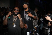 Rick Ross and Rashard Lewis attend Corzo presents NBA AllStar Weekend at Club Roxy on February 15 2013 in Houston Texas