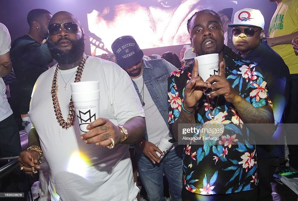 Rick Ross and Wale are seen at the Reebok Classic white party hosted by Rick Ross at LIV nightclub at Fontainebleau Miami on March 10, 2013 in Miami Beach, Florida.
