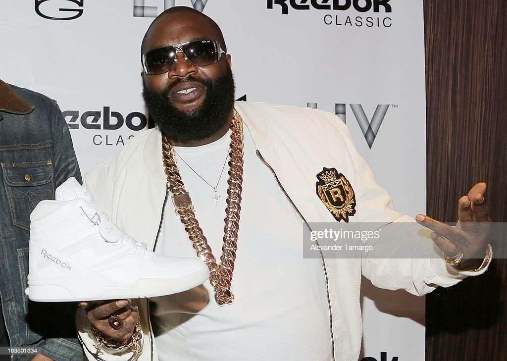 Rick Ross arrives at the Reebok Classic white party hosted by Rick Ross at LIV nightclub at Fontainebleau Miami on March 10, 2013 in Miami Beach, Florida.