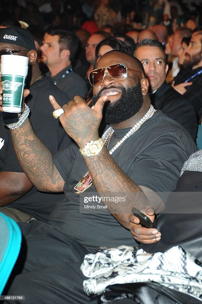 <a gi-track='captionPersonalityLinkClicked' href=/galleries/search?phrase=Rick+Ross+-+Rapper&family=editorial&specificpeople=11492924 ng-click='$event.stopPropagation()'>Rick Ross</a> attends the Mayweather Vs. Maidana Pre-Fight Party Presented By Showtime at MGM Garden Arena on May 3, 2014 in Las Vegas, Nevada.