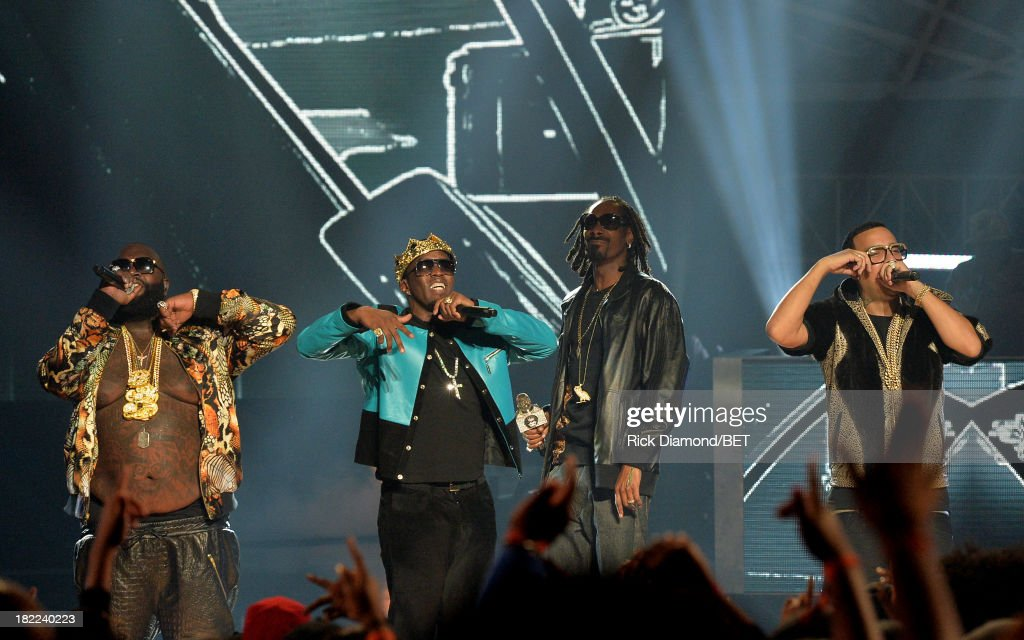 Rick Ross, Diddy, Uncle Snoop and <a gi-track='captionPersonalityLinkClicked' href=/galleries/search?phrase=French+Montana&family=editorial&specificpeople=7131467 ng-click='$event.stopPropagation()'>French Montana</a> perform onstage at the BET Hip Hop Awards 2013 at Boisfeuillet Jones Atlanta Civic Center on September 28, 2013 in Atlanta, Georgia.