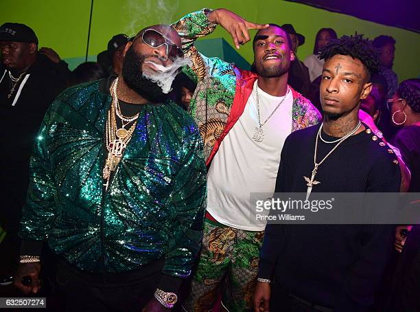 Rick Ross Meek Mill and 21 Savage attend Rick Ross Birthday Bash at XS Lounge on January 23 2017 in Atlanta Georgia